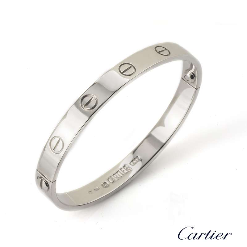 Cartier 18k White Gold Love Bangle Size 16 B6035416